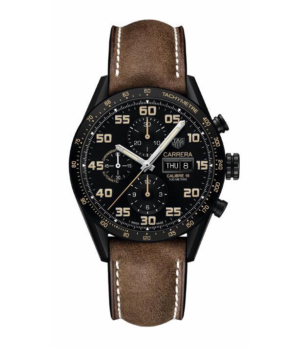 泰格豪雅卡莱拉系列Calibre 16星期日历黑色钛金属腕表